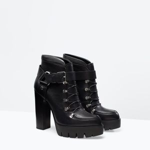 Zara woman's black buckle ankle boots